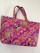 Purse with Zipper Cotton Multi-Color Floral and Butterfly Print, Large 19x11""