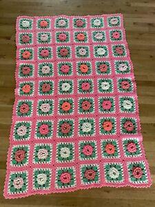 """Vintage 3D Rose Granny Square Pink Crochet Afghan Blanket 52x78"""""""