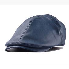 Herren Flatcap Schirmmütze Kunstleder Cabbie Caps Schiebermütze Hut Hüte Newsboy