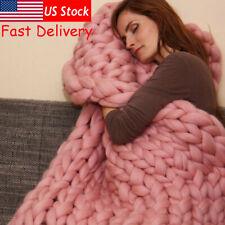 Winter Warm Chunky Knit Thick Blanket Hand Yarn Merino Bulky Throw Knited Sofa