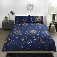 Duvet Cover Set - Super King Size Navy Celestial Print Bedset Cotton Bedding Set