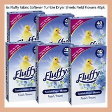 240 Sheets Fluffy Fabric Softener Tumble Dryer Sheets Field Flowers 6x 40 Pack