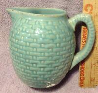 Antique Weller Pierre Basketweave Blue Green Pottery Cream Pitcher