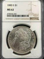 1880-S Morgan Dollar $1 Dollar NGC Graded MS62 Silver Coin (CO-DU-4700346-001)