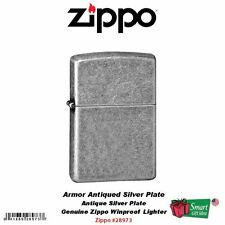 Zippo Armor Antique Silver Plate Lighter, USA Genuine Windproof #28973