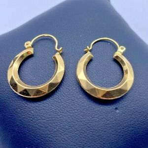 VINTAGE 18k / 18ct / 750 Yellow GOLD Creole Style HOOP Earrings 1.6g