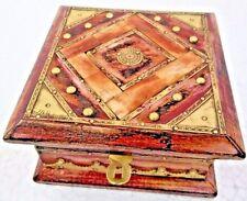 INLAID CARVED MANGO WOODEN STORAGE OR TRINKET BOX  VINTAGE LOOK