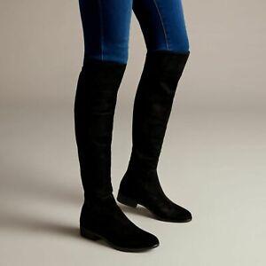 Clarks Caddy Belle Black Suede Women's Knee Long Boots UK Size 4D