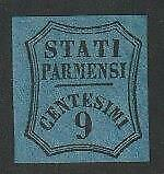 IT. STATES PARMA 1853 Newspapers Postage Due 9c blue MH, signed - $2,150 / N7219