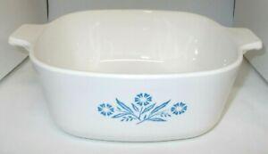 Vintage Corning Article Bleu Maïs Fleur P-1/12 / B 11/2 QT Cassorole Plat