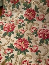 Vintage 1940s Fabric Curtain Huge Pink Florals Swags Linen Cotton 80�
