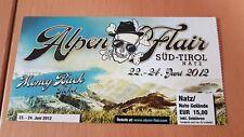 Frei.Wild Alpen Flair Festival 2012 Moneyback Ticket WIE NEU