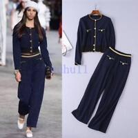 Women's Chic Coat+Pants 2/PCS Fashion Jackets Suits Designer Sets Soild Europe