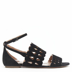 ALAIA black suede squiggly cut out strap open toe ankle wrap flat sandals EU37