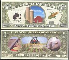 American Farmer Million Dollar Bill Collectible Fake Funny Money Novelty Note