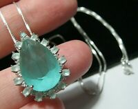 Beautiful Sterling SILVER Real Aqua Chalcedony Topaz Gem Stone Pendant NECKLACE