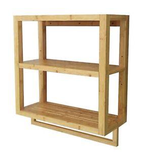 Bamboo 2-Tier Wall Shelf with Towel Bar Bathroom Shelf