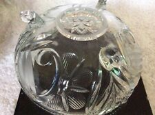 Really stylish cut glass rose bowl with chrome frog. exc.cond.Boxed.