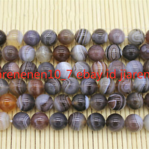 New Natural 6/8/10/12mm Striped Agate Onyx Gemstone Round Loose Beads 15'' AAA