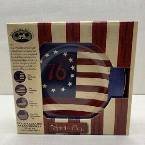 """Brandon House """"Spirit of the Flag"""" Ceramic salad/dessert Plate New in Box (4)"""