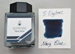 3 Oysters Fountain Pen Ink 38ml Bottle Navy Blue