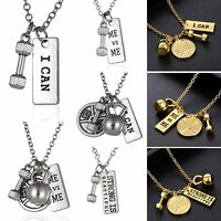I Can ME vs ME DUMBBELL BARBELL WEIGHT Fitness Gym CROSSFIT Pendant Necklace Hot