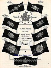 PUBLICITE ULYSSE NARDIN MONTRE BRACELET DERMONT DIANE ORGUES DE 1951 FRENCH AD