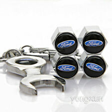 4 x Silver Chrome Tyre Valve Dust Caps With LOGO FOR BLACK With Wrench Key Ring