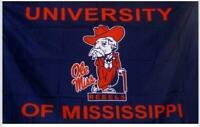OLE MISS REBELS FLAG 3'X5' UNIVERSITY OF MISSISSIPPI BANNER: FREE SHIPPING NEW