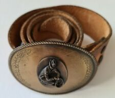 Vintage Budweiser Beer Tooled Leather Belt Cowboy Buckle Mexico Marked 36 unisex