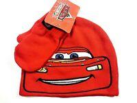 Disney Pixar Cars Hat / Mittens Set Boys Kids Lightning Mcqueen Beanie Cap RED