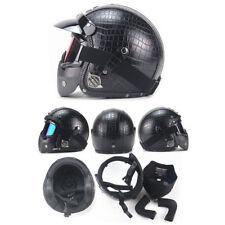 1x Crocodile Black M Harley Motorcycle Full Face Helmet Vintage Leather Mask DOT