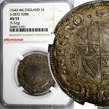 ENGLAND Charles I (1625-1649) Silver ND Shilling NGC AU53  TOP GRADED
