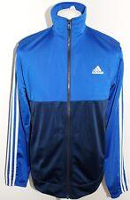 Adidas Para Hombre Clásico 3 Tiras Blancas Azul Camisa Top De Pista Talla 42/44 Grande BNWT
