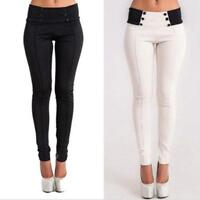 Women's High Waist Stretch Skinny Pencil Pants Trousers Slim Leggings Jeggings D