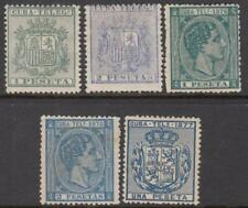 Spain Caribbean Colony Telegraph Stamps Bft #38//45 5 unused stamps 1875-7 cv$35