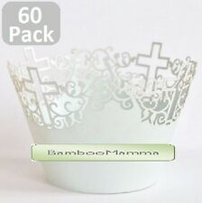 60 x White Pearl CROSS Wedding Baptism Cupcake Wrapper Wraps Christian Catholic