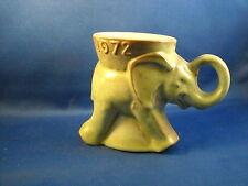VINTAGE ORIGINAL FRANKOMA GREEN ART  GLAZE  POTTERY MUG 1972-  GOP ELEPHANT
