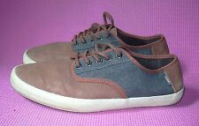 1068ce1602 Vans Off the Wall Brown Leather Canvas Lace up Mens 10 OTW Sneaker Shoes