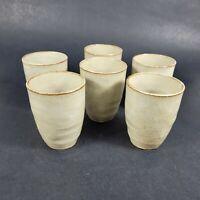 Hand Crafted Pottery Mugs AOLDA Handleless Mugs Lot of 6