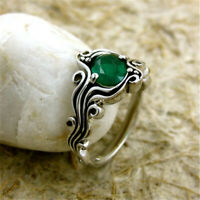 1.6CT Emerald Women 925 Silver Jewelry Wedding Muse Engagement Ring Size 6-10