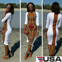 Fashion Women's Summer Bodycon Traditional African Print Party Slim Mini Dresses