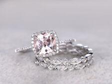 2Ct Cushion Cut Peach Morganite Halo Engagement Ring Set 14K White Gold Finish