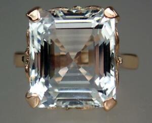Glowing Antique Art Deco 9K Gold 12.75ct Ice Blue Aquamarine Ring GIA Size 7.25