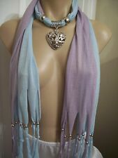 SCARF PENDANT NECKLACE SHAWL WRAP TIBETAN SILVER TONE FLOWER HEART JEWELRY NEW