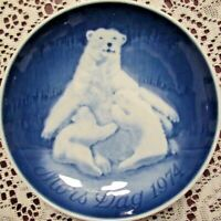 Bing Grondahl Mors Dag Mothers Day Plate Polar Bear Cubs 1974 Blue Porcelain
