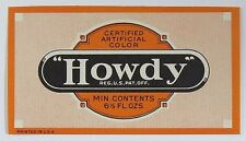 Vintage Howdy Soda Bottle Label 6 1/2 Fluid Ounces
