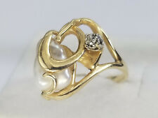 Diamond Pearl Cluster 14k Solid Gold Ring 5 3/4