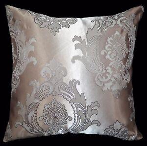HC301a Light Antique Mauve Silver Grey Floral Jacquard Cushion Cover/Pillow Case
