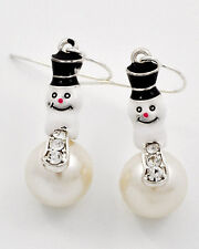 Winter Christmas Holiday Faux White Pearl Snowman Drop Earrings